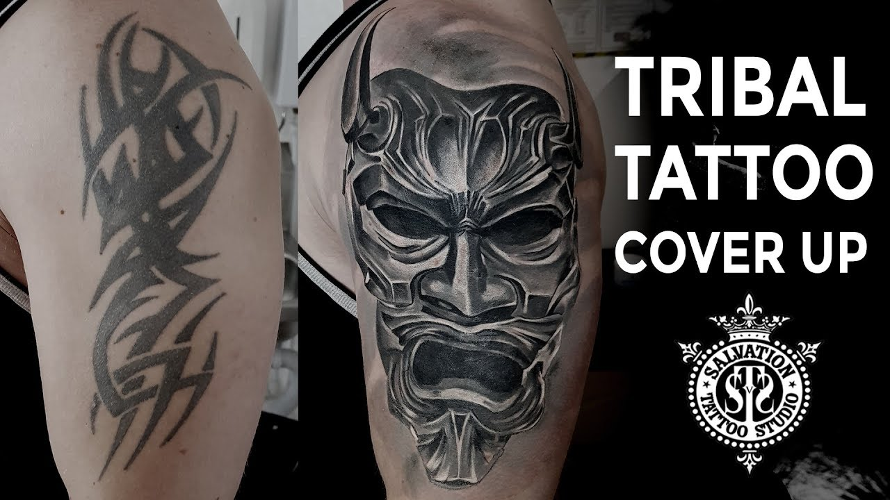 d864e09d5a53a Tribal Tattoo Cover-up | Japanese Oni Mask | One Session | Salvation Tattoo  Studio