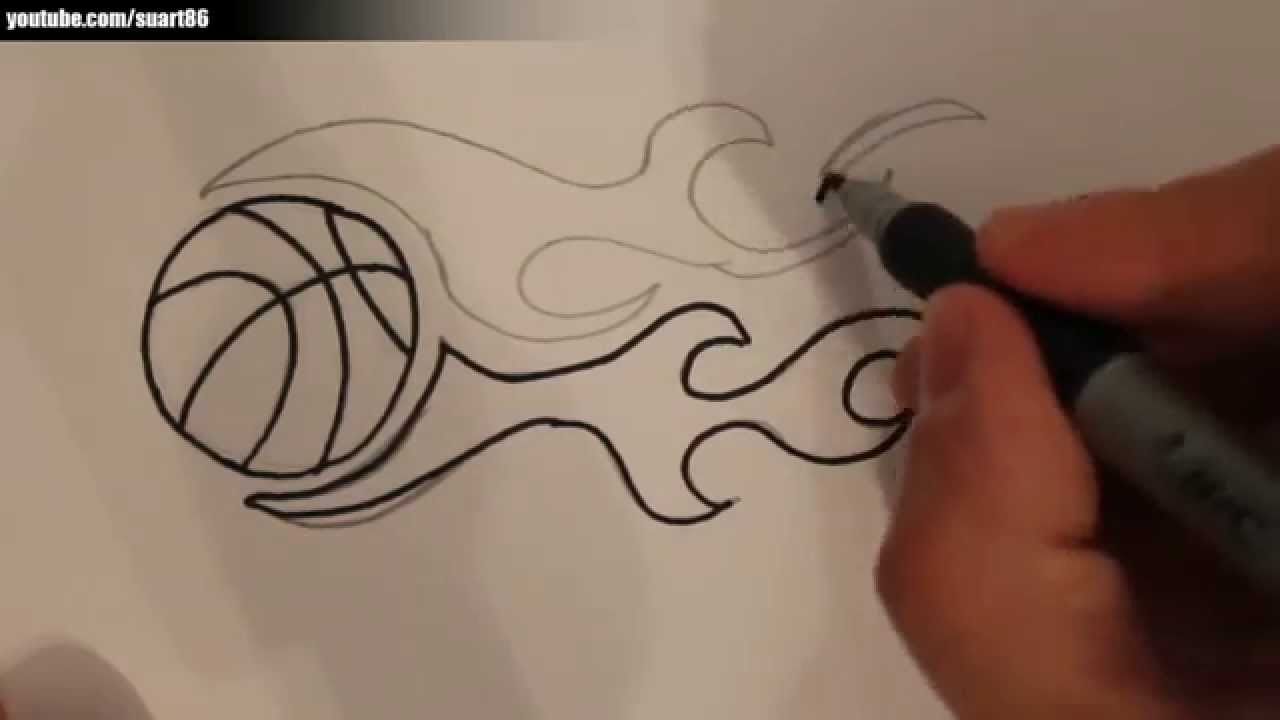 How To Draw A Basketball On Fire Youtube