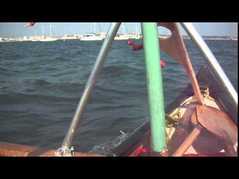 broken leeboard on the sailing canoe Poole Harbour 2015