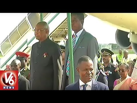 Indian President Ram Nath Kovind Receives Grand Welcome in Lusaka | Zambia | V6 News