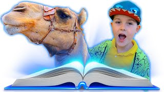 Timmy and mom play with magic book and learn animals