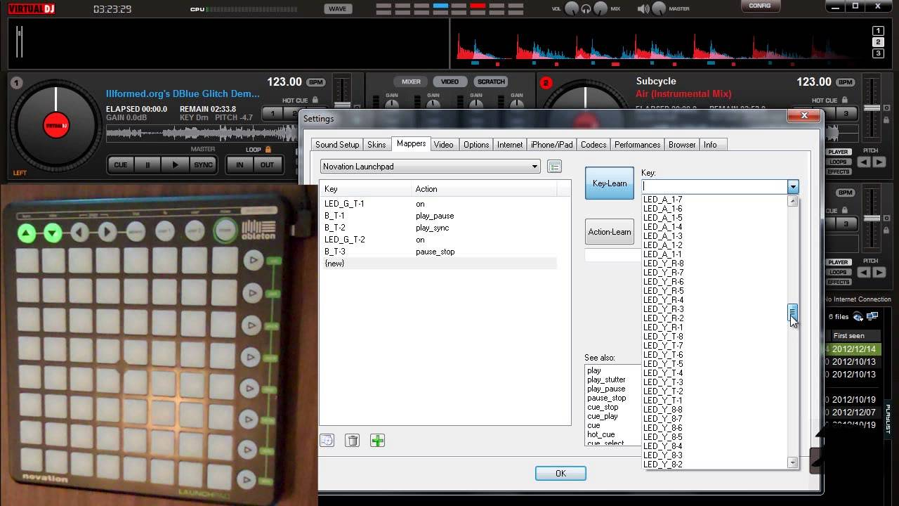 Controlling Virtual DJ with Novation LaunchPad (Mapping Basic Commands)
