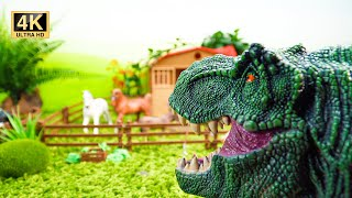 Dinosaurs Attack! Brave Animals Protecting Toy Farm   Farm Animals for Kids
