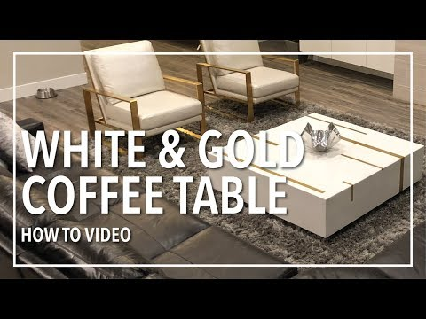 White and Gold Coffee Table   Epoxy