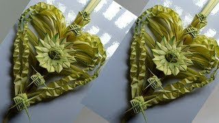How to make heart flower by date palm  //  craft work of date palm.
