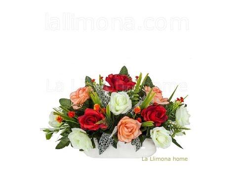 Arreglos florales artificiales jardinera cer mica rosas - Arreglos de flores artificiales ...