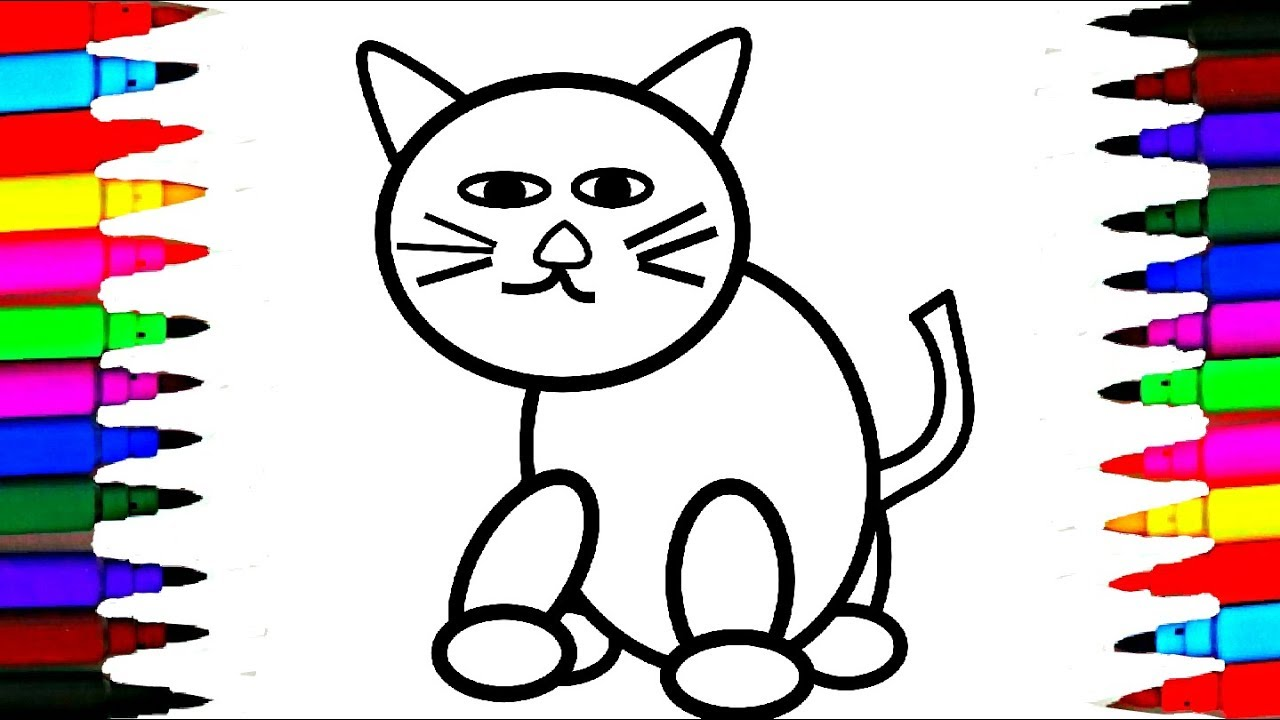 How To Draw And Color Cute Kitty Cat L Rainbow Color Cat Drawing And
