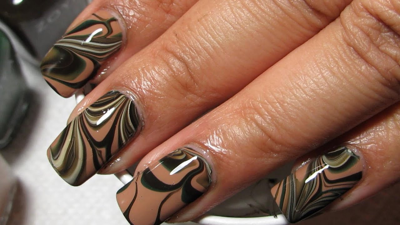 Camouflage Water Marble Nail Art Tutorial - Camouflage Water Marble Nail Art Tutorial - YouTube