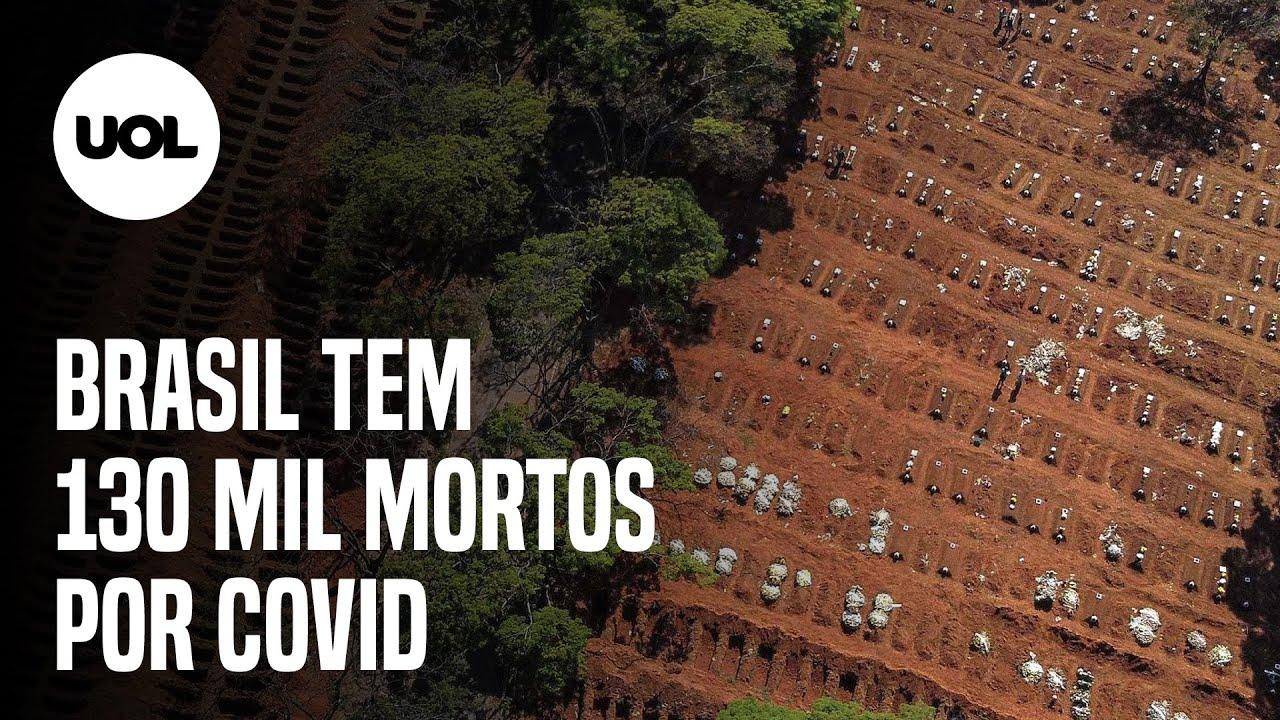 Brasil supera 130 mil mortes por covid-19. Pais tem 874 novos óbitos nas últimas 24h