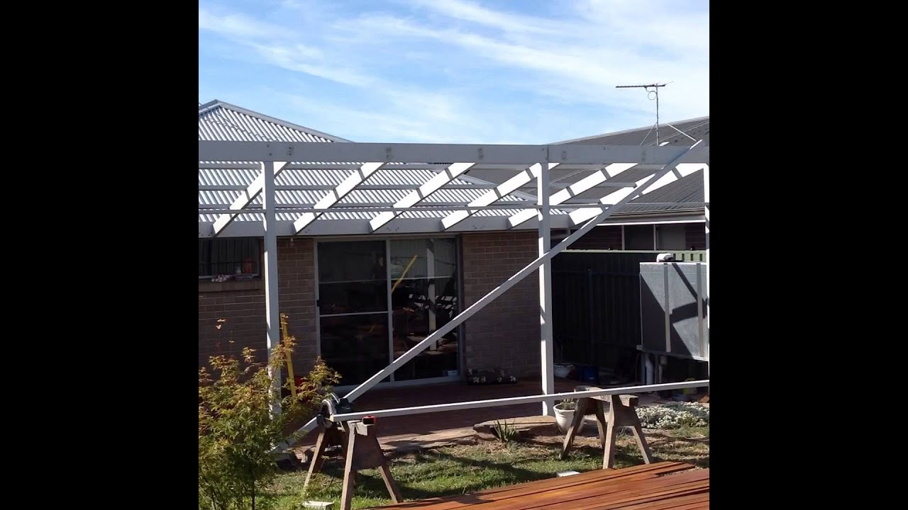 Skillion Roof Pergola Construction Youtube