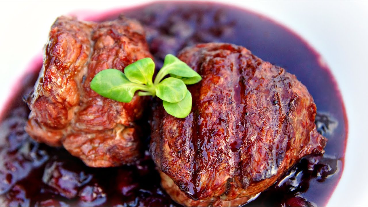 filet mignon amp blueberry sauce grilled on the weber