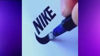 Парень круто рисует логотипы известных фирм