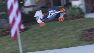 hot wheels street hawk flying rc car flight and crash