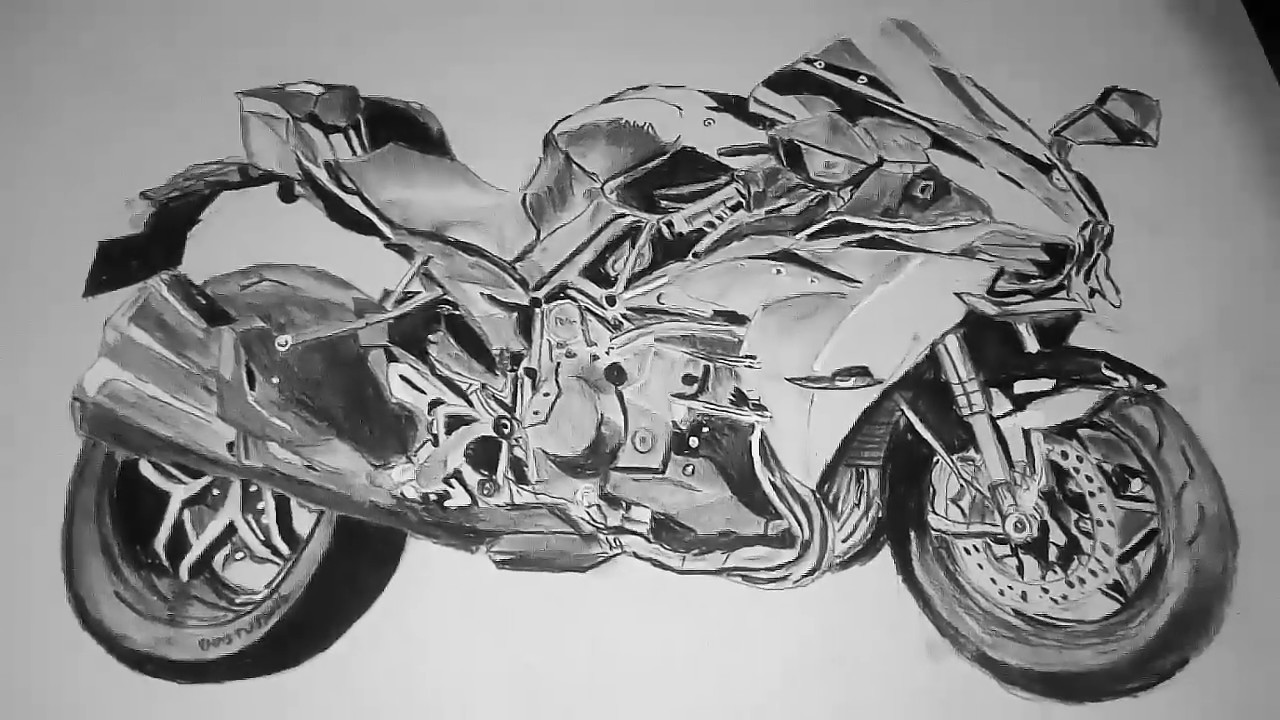 Kawasaki Ninja H2 Bike Sketch By Using Only Charcoal Pencil Youtube