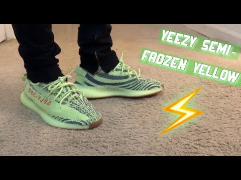 big sale 76dd0 c0d62 Adidas Yeezy Boost 350 V2 Semi Frozen Yellow On Feet/ Review