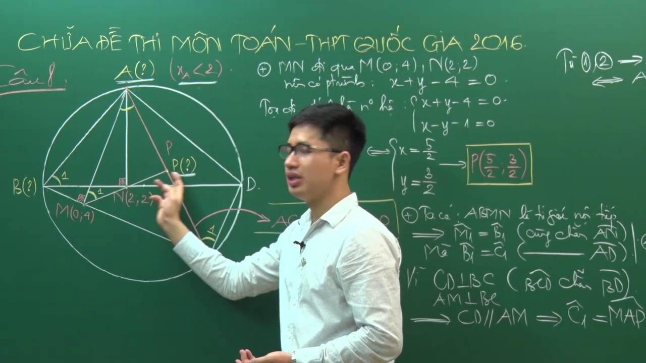 Thi THPTQG – Đề thi THPTQG 2016 – Thầy Nguyễn Thanh Tùng – Giải đề môn Toán (P2)