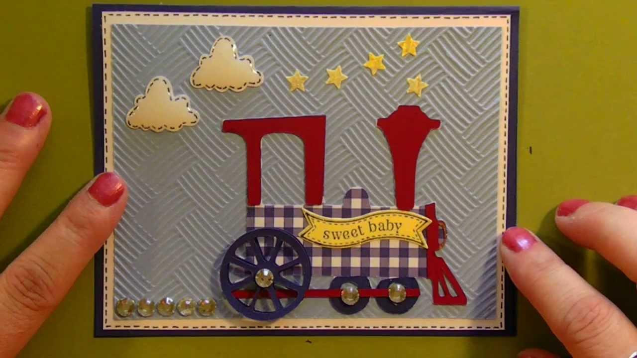 Cricut Sweet Baby Boy Shower Card With Train Using B Is