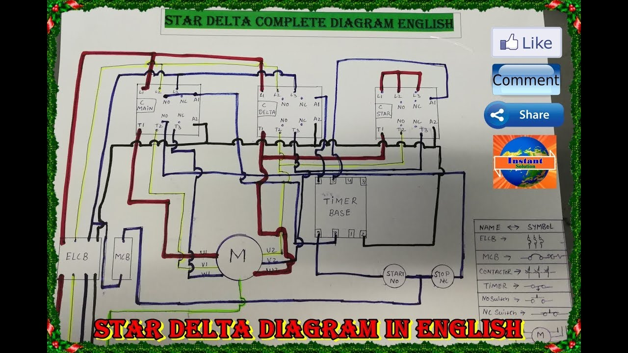 Star Delta Connection Control And Power Circuit Diagram