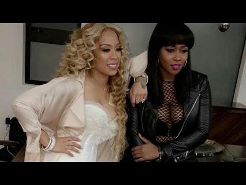 R&B singer Keyshia Cole & rapper Remy Ma at video shoot