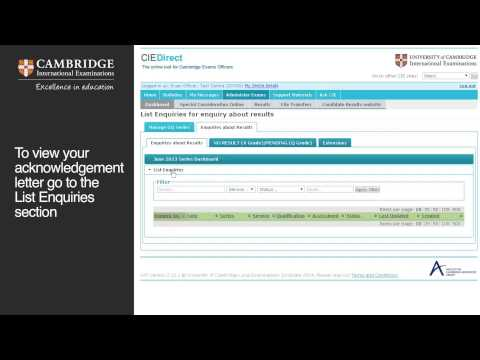 Submitting enquiries about results online using CIE Direct