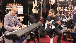 F Bass at NAMM 2015: Janek Gwizdala, Michael League, and Larnell Lewis