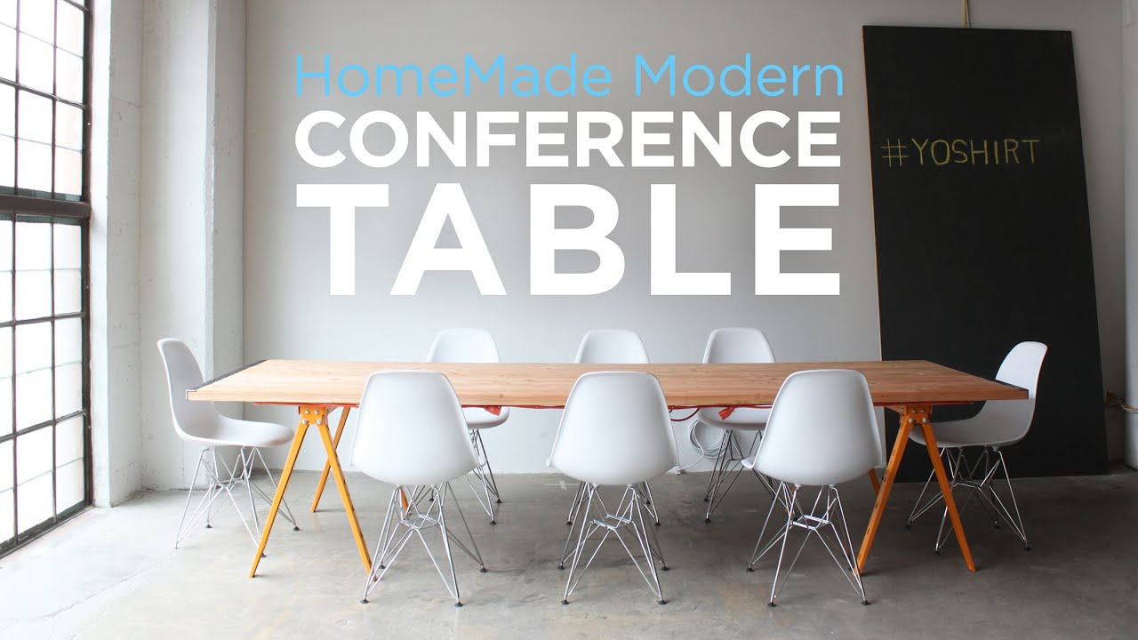 DIY Conference Table YouTube - Gray conference table