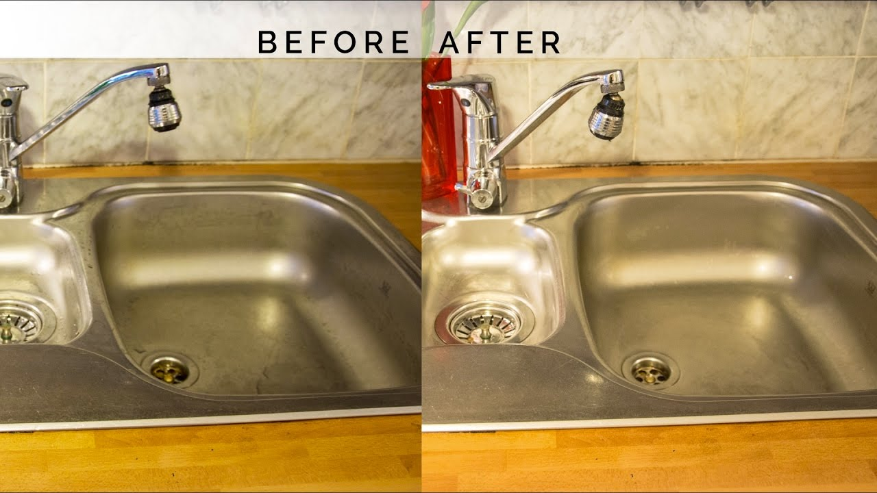 How To Disinfect Clean And Shine Your Stainless Steel Kitchen Sink Youtube