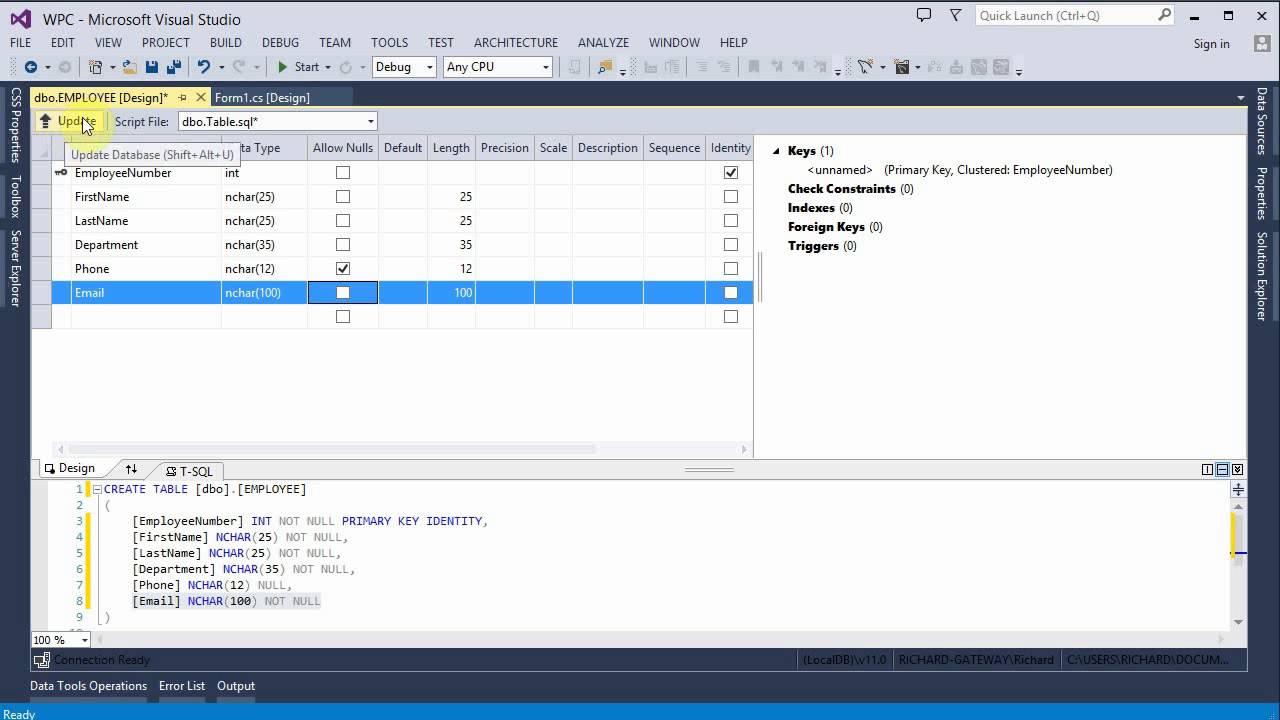 Create Employee Database Table Visual Studio