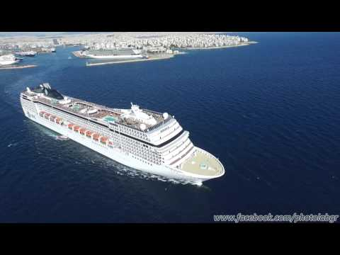 Aerial (drone) view - MSC Orchestra leaving Piraeus port