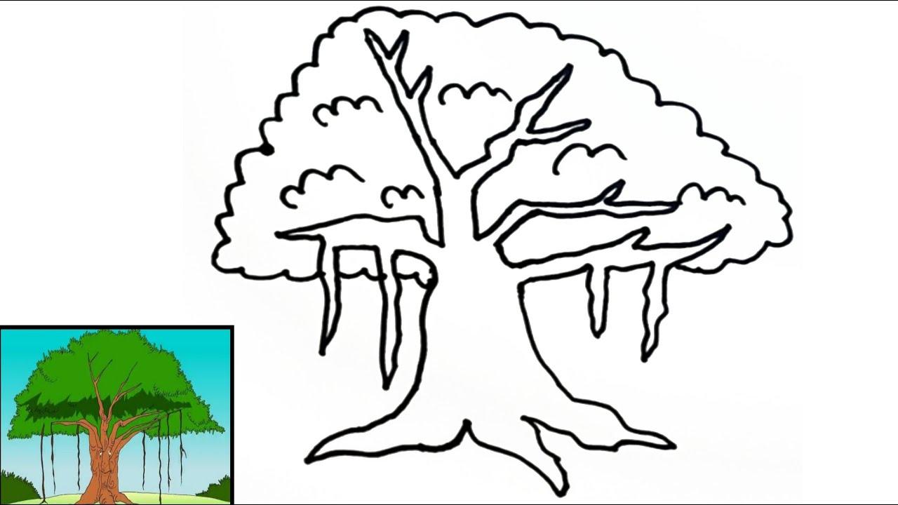 Cara Menggambar Pohon Beringin Pancasila Yang Mudah How To Draw A Banyan Tree Easy For Beginners Youtube