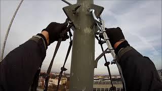Prace wysokościowe wymiana lin na maszcie rurowym - Tower climbing