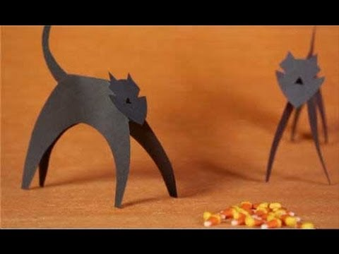 paper cat halloween crafts for kids youtube - Halloween Crafts Construction Paper