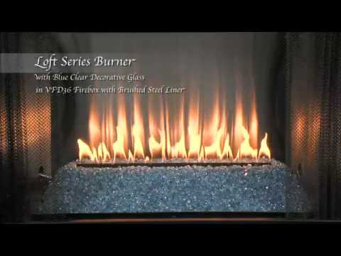 Loft Series Burner with Blue Clear Glass and Stainless Steel ...
