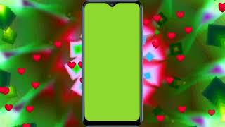 Green Screen Mobile Frame With Animated Background For Video Editors/no Copyright