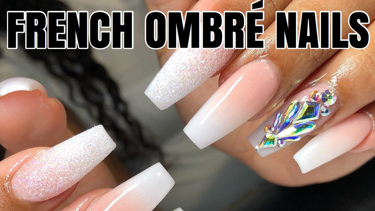 French Ombre Coffin Nails Tutorial Youtube