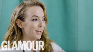 Jodie Comer sings Ariana Grande & relives her hungover shifts at Tesco | GLAMOUR UK
