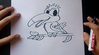 Como dibujar un pajaro paso a paso | How to draw a bird