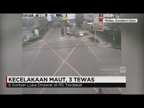 Kecelakaan Maut Terekam CCTV, Truk Tabrak Motor di Lampu Merah Medan, 3 Tewas Mp3