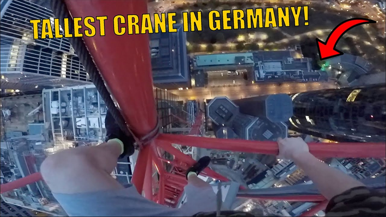 MASSIVE CRANE CLIMB ABOVE SECURITY IN GERMANY!!