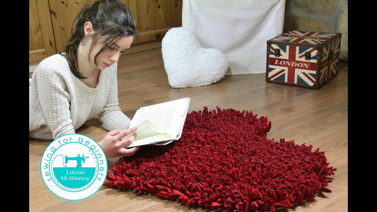 Make a rug with t-shirt yarn - YouTube for Diy Carpet Yarn  193tgx