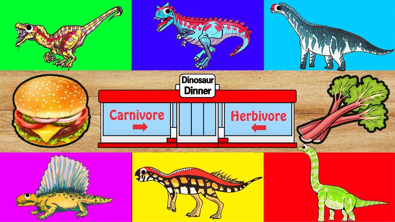 恐龍餐廳 | Carnivore? Herbivore? | 繪圖遊戲 | Dinosaur Jurassic World | Dinosaurs buffet for Children