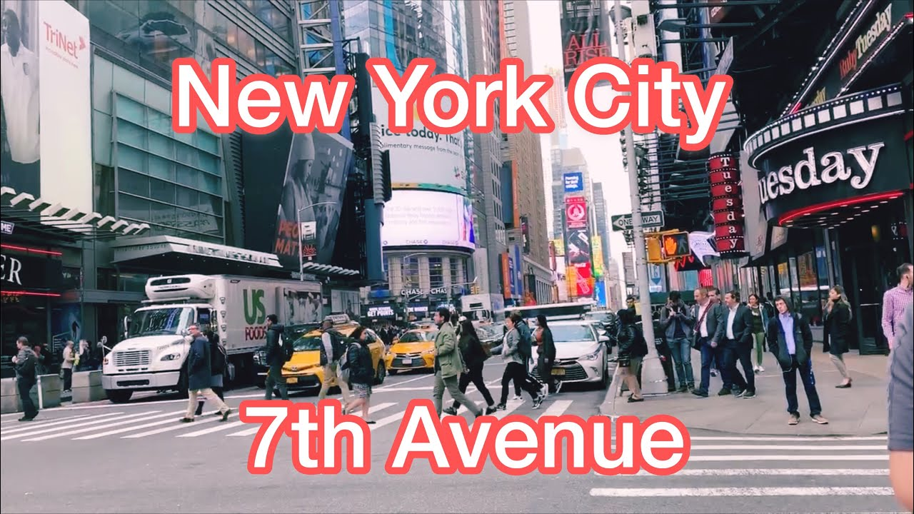 7th Avenue Manhattan, New York City - Taxi Ride From  Times Square (42th Street) to 18th Street 2019