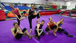 GUYS TRY GYMNASTICS IN HIGH HEELS! thumbnail