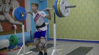 Маклаков Тимур, 14 лет, собст вес 54 Пр  100 кг на 3 р