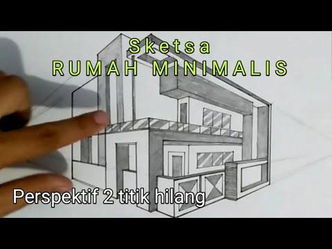 Cara Menggambar Rumah Minimalis Dengan Perspektif 2 Titik Hilang Gambar Teknik Otomotif Youtube