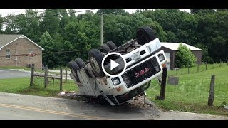 Large GMC TopKick Utility Truck Rollover, You Won