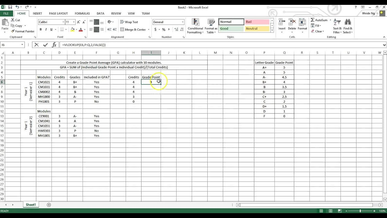 How to calculate gpa for college - How To Create Gpa Calculator Using Microsoft Excel