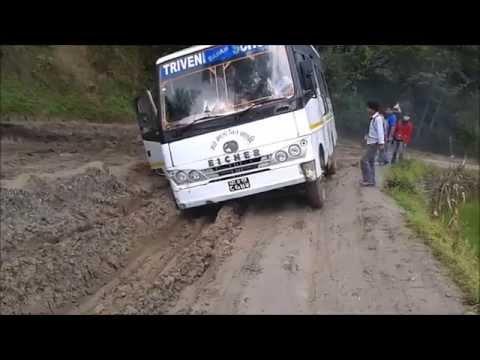 School Bus Stuck on Muddy Road in Kathmandu Nepal