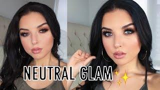 Easy Brown Smokey Eye & Glossy Nude Lip | Neutral Glam Makeup Tutorial