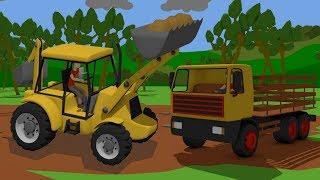 ,Excavator, Loader and Truck - Reconstruction of the destroyed temple | Yellow vehicles - Bajki